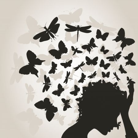 From a head of the girl the butterfly flies     Ilustrace