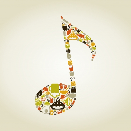 musical note: The musical note made of food