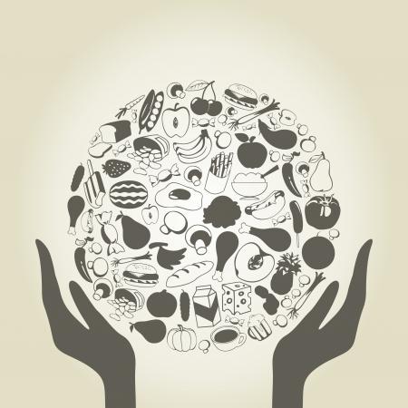 Hände halten eine Kugel aus der Nahrung Illustration