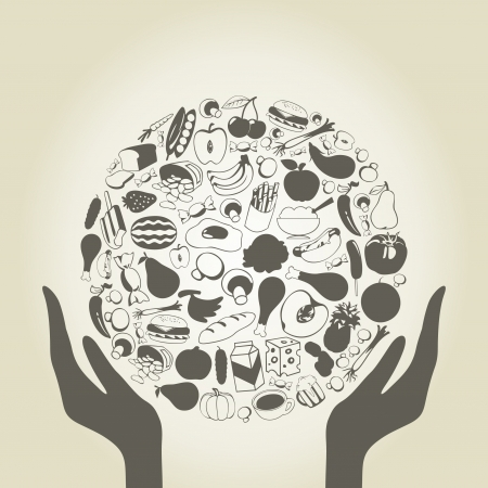 Hands hold a sphere from food    Illustration