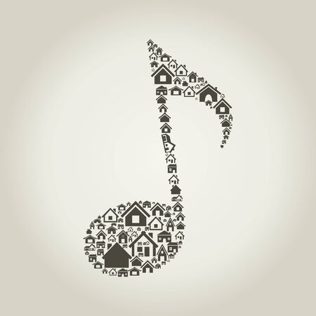 The musical note made of houses Stock Vector - 17435174