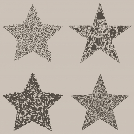 Abstract set on a theme of stars Stock Vector - 17435187