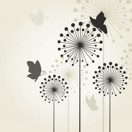 The butterfly sits on a flower a dandelion   Vector