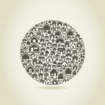 Sphere made of houses  A vector illustration Stock Vector - 17513292