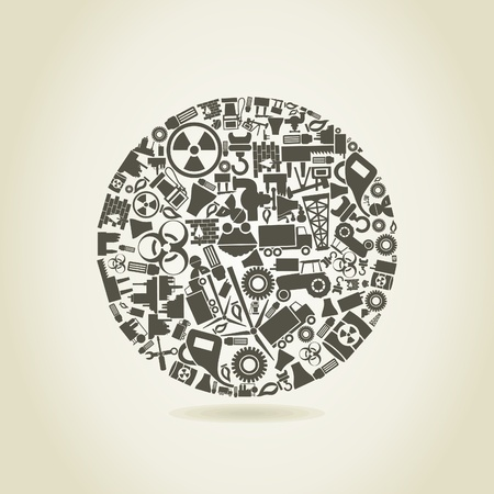 Sphere made of the industry  A vector illustration Vector