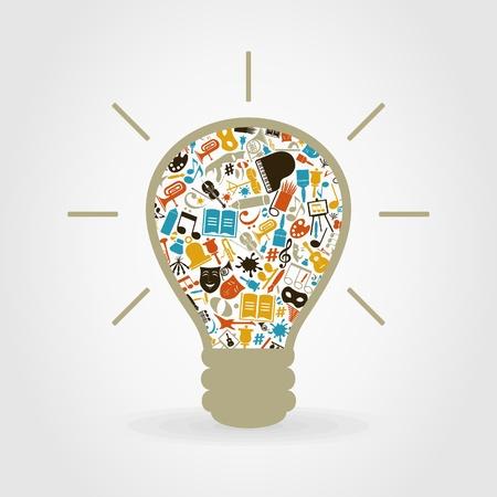 focos de luz: Lámpara hecha de temas de arte.