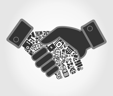 hand with a bag of money: Hand shake about business by a hand.