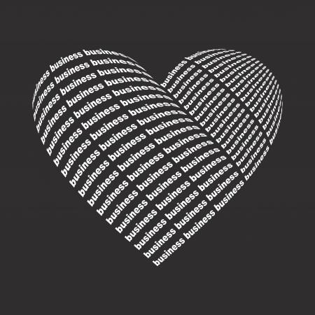 broken love: Heart made of a word business. Illustration