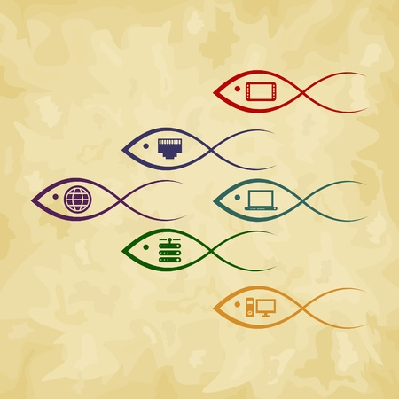 Flight of fishes with electronics. Vector