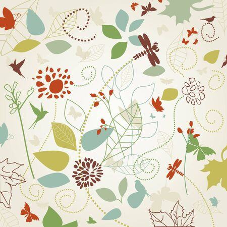 flora fauna: Background made of a flower and butterflies. Illustration