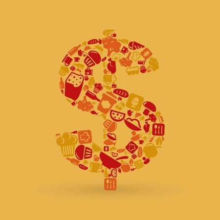 Dollar made of food subjects. Stock Vector - 18017132