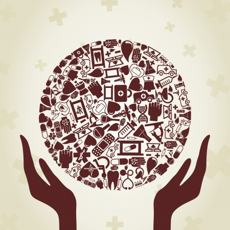 stretcher: Hands hold a sphere from medicine.  Illustration