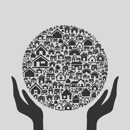 Hands hold a sphere from houses.  Vector