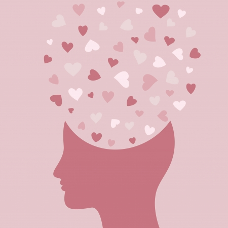 Heart symbol in a head. Vector