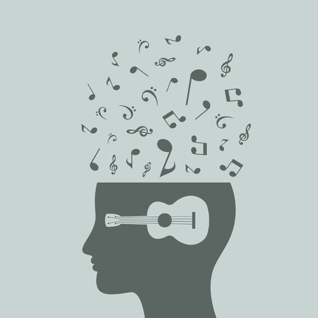 religious music: Musical notes in a head