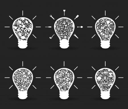 Set von Glühbirnen für Design