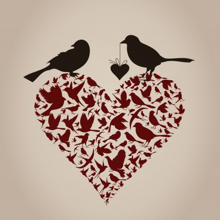 Birds sit on heart  A vector illustration Vector