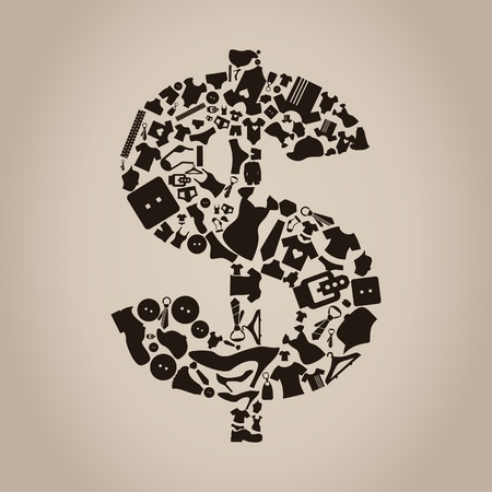 cowards: Dollar made of clothes  A vector illustration