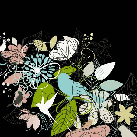 flora fauna: Flowers and plants on a black background  illustration Illustration