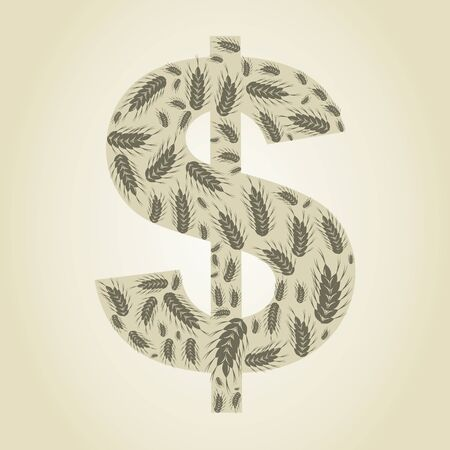 Dollar made of wheat  illustrations Vector