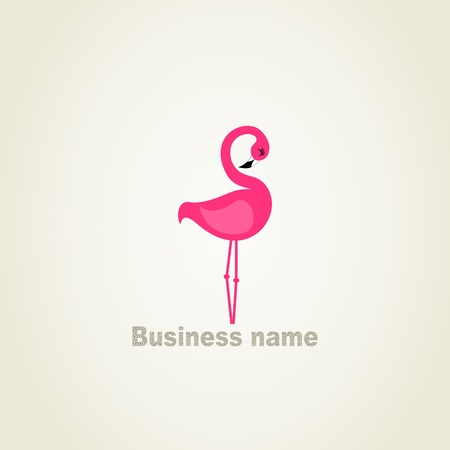 Pink flamingo on a grey background  illustration Vector