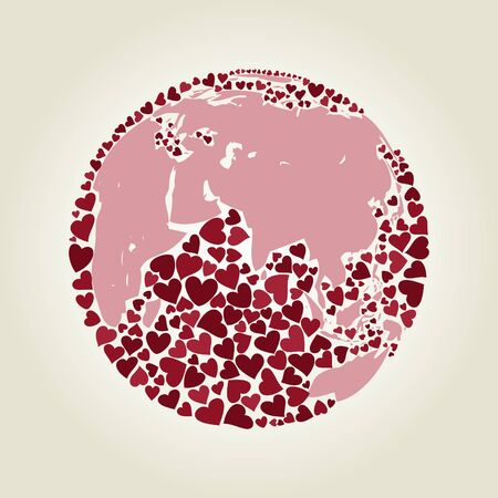 Planet made of hearts   illustrations Vector