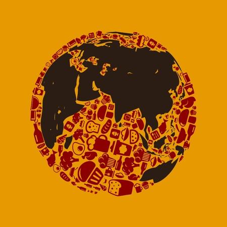 pane e vino: Pianeta fatto di illustrazione cibo