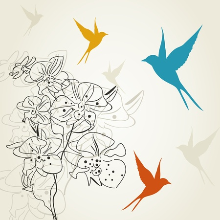 The bird flies round a flower. A vector illustration Vector