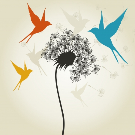 Birds fly round a dandelion. A vector illustration