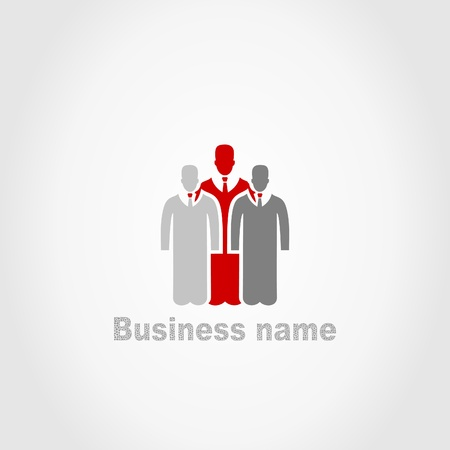 Sign on three businessmen. A vector illustration Vector