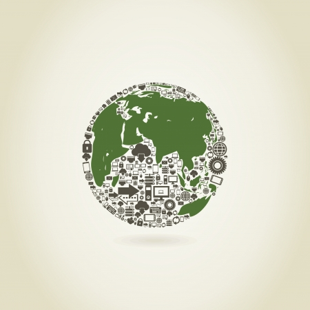 Planet made of the computer. A vector illustration Stock Vector - 18279526