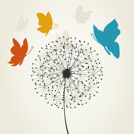 The butterfly flies round a dandelion. A vector illustration Vector