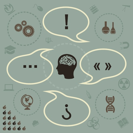 The brain thinks of a science  A vector illustration Stock Vector - 18279475