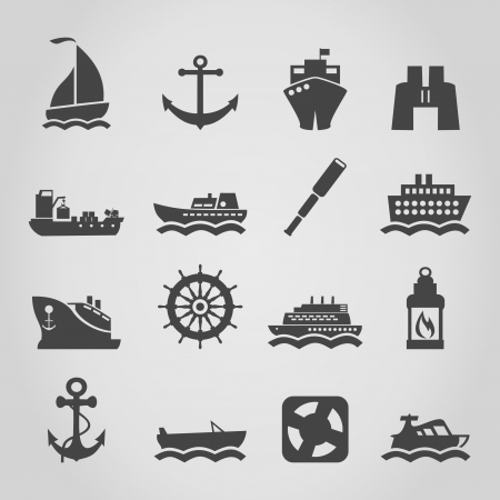 barge: Set of icons of the ships   Illustration
