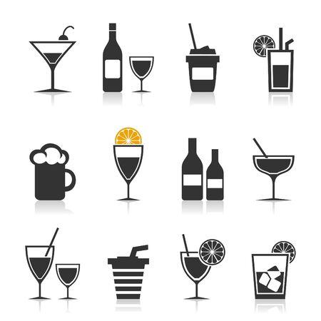 whisky bottle: Set of icons alcohol  A  illustration