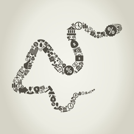 Snake made of business  A  illustration Stock Vector - 18466721