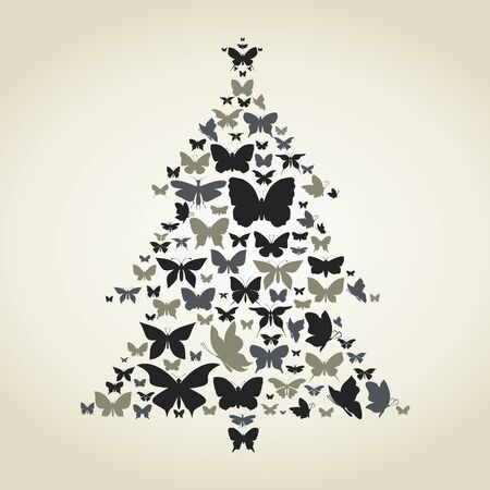 Pine made of butterflies  A  illustration Vector