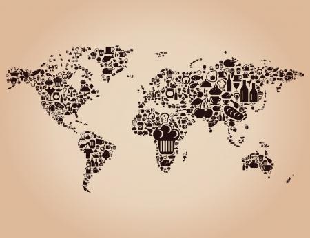 pane e vino: mappa fatta di cibo Una illustrazione Vettoriali