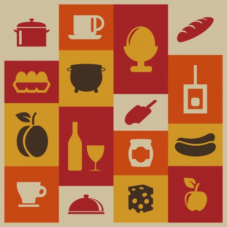 cheese bread: Set of icons of food  A  illustration