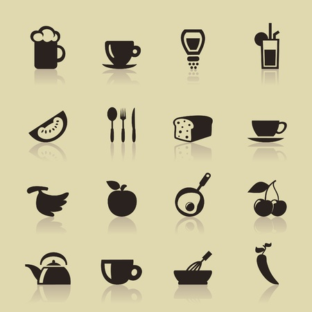 Set of icons of food  A  illustration Vector
