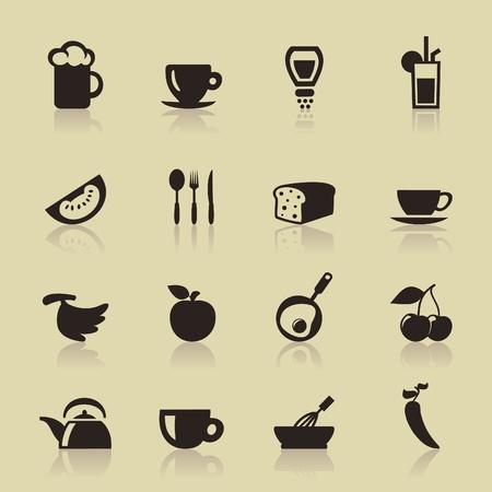 salt water: Set of icons of food  A  illustration