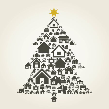 Pine made of houses  A  illustration Stock Vector - 18466713