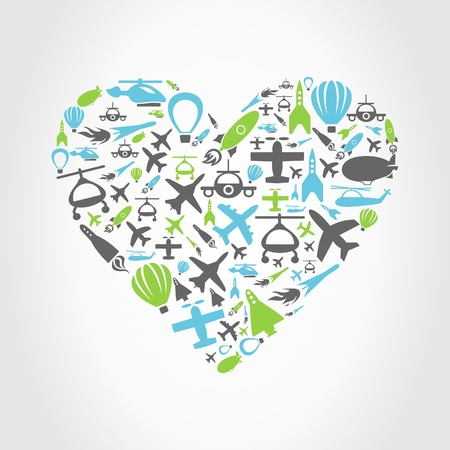 Heart made of aircraft. A vector illustration Stock Vector - 18552954