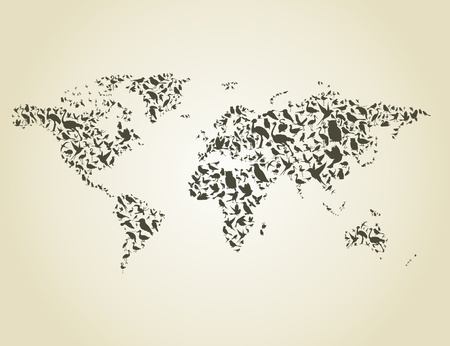 Map made of birds. A vector illustration Vector