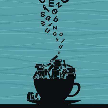 escritores: Libros poner en una taza.