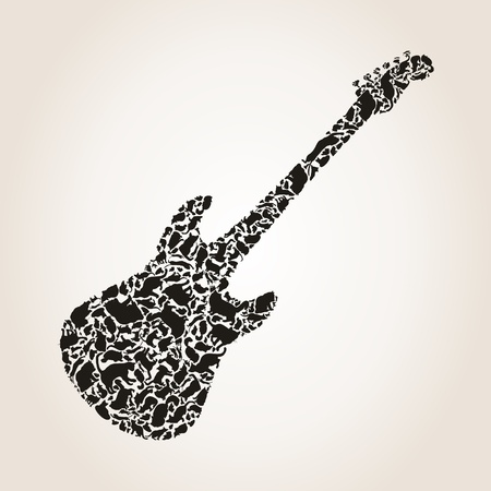 Guitar made of cats  A vector illustration