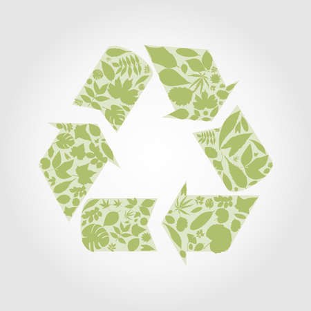 circulating: Ecology sign made from leafs  A vector illustration Illustration