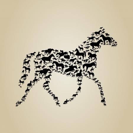caballo negro: Caballo hecho de caballos Una ilustraci�n vectorial Vectores