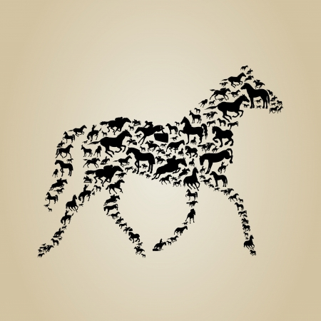 rebellious: Horse made of horses  A vector illustration