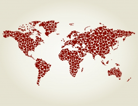 heart broken: Map made of hearts  A vector illustration